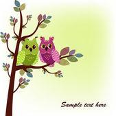 две совы, сидя на дереве — Cтоковый вектор