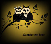 Two black and white on a black owl tree — Stock Vector