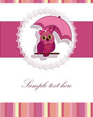 A beautiful card with the owl and the umbrella — Stock Vector