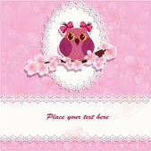 Beautiful greeting card with an owl on a branch — Vector de stock
