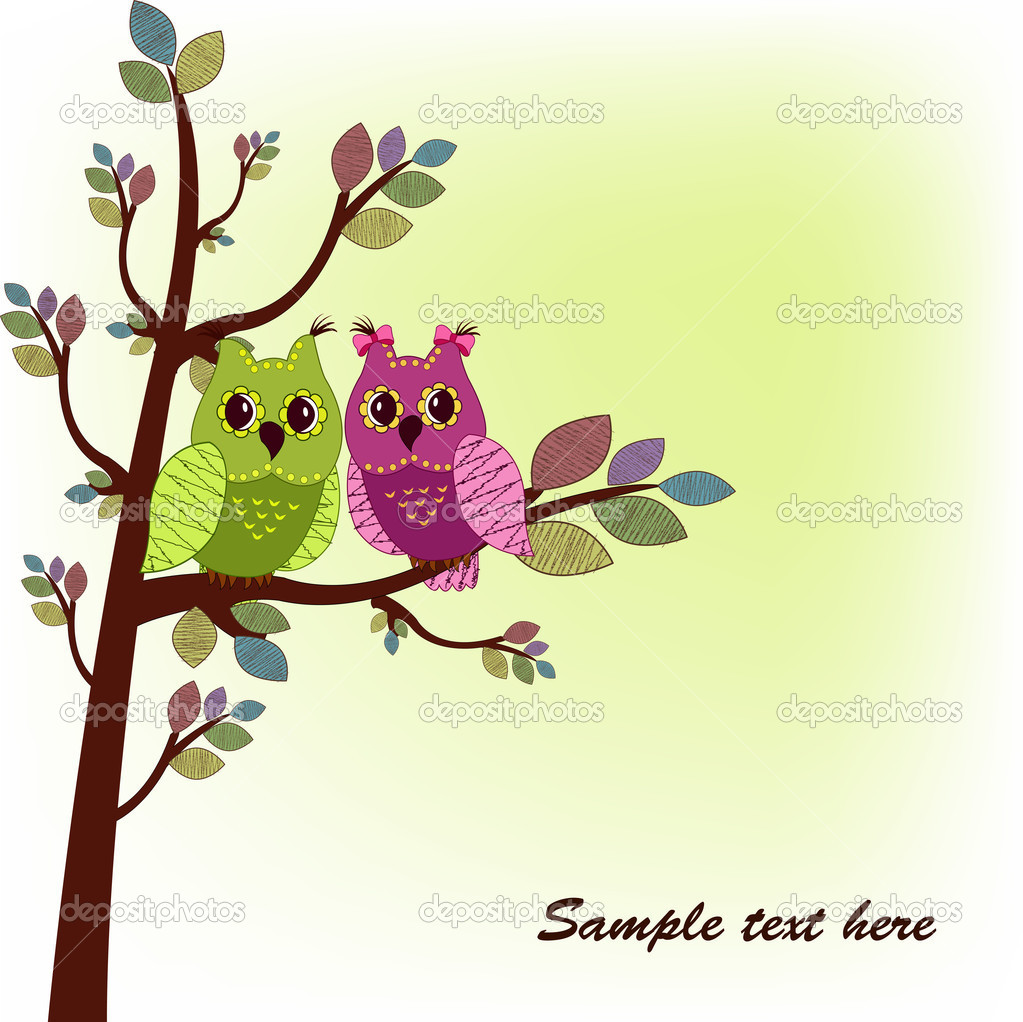 The two owls sitting on tree — Stock Vector #10370271