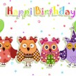 Birthday party owls set — Vector de stock #10444900