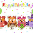 Birthday party owls set — ストックベクター #10444900