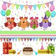 Stock Vector: Birthday party owls set