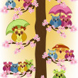 Royalty-Free Stock Imagen vectorial: Lot of owls sitting in a tree