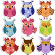 Stockvektor : Cartoon owls