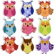 Stock vektor: Cartoon owls