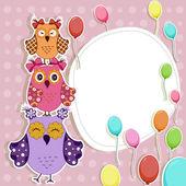お誕生日おめでとうと美しいベクトル カード — ストックベクタ
