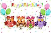 день рождения партии совы набор — Cтоковый вектор