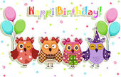 Birthday party owls set — Stock Vector