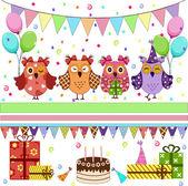 Impostare gufi festa di compleanno — Vettoriale Stock