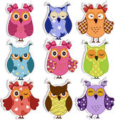 Cartoon owls — Stockvektor