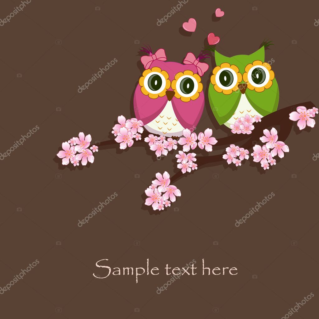 Two funny, love the owl sitting on a flowering branch on a brown background  Stock Vector #10445683
