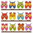 Set of 12 owls with different emotions — Stock Vector
