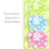 Baby card with elephants — Stock Vector