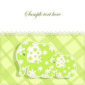 Carte de bébé avec les éléphants — Vecteur