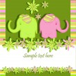Funny elephants — Stock Vector