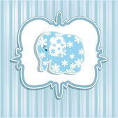 A beautiful baby card for a boy with an elephant — Cтоковый вектор