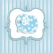 Une carte de beau bébé pour un garçon avec un éléphant — Vecteur