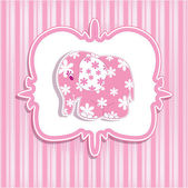 A beautiful baby girl with a card for a pink elephant — Stock Vector