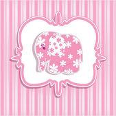 Une belle petite fille avec une carte pour un éléphant rose — Vecteur
