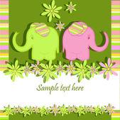 Funny elephants — Stock Vector
