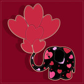 Funny elephant with hearts on a red background — Stock Vector