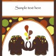 Sample Cards with two elephants — Vector de stock