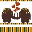 Stock Vector: Sample Cards with two elephants