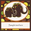 Sample Cards with two funny elephants — Stock Vector