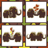 The four icons with funny elephants — Stock Vector