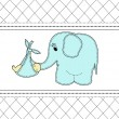 Childrens card with a blue elephant and the baby — Stock Vector