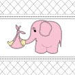 Childrens card with a pink elephant and the baby — Stock Vector