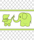 Childrens card with a green elephant and a baby carriage — Stock Vector