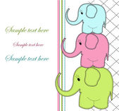 Childrens card with three elephants — Stock Vector