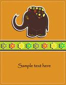 Tarjeta para niños con un elefante marrón y flores — Vector de stock