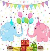 Birthday party elephants set — Stock Vector