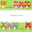 Holiday Card with colorful owls — Imagen vectorial