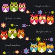 Funny Vector owl on a black background — 图库矢量图片