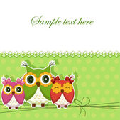 Postcard with three owls — Stock Vector