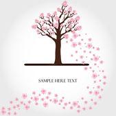 Kwitnące drzewo wektor — Wektor stockowy
