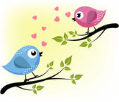 Two loving birds on the branches — Stock Vector