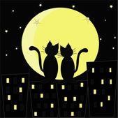Enamoured cats — Stock Vector