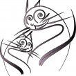 Cat with a kitten — Imagen vectorial