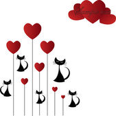Black cat with hearts — Stock Vector