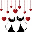 Stock Vector: Love black cats