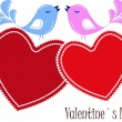 Two enamoured birdies on red hearts — Stock Vector