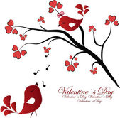 Enamoured birdies on a branch with hearts — Stock Vector