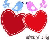Dois apaixonado por passarinhos em corações vermelhos — Vetorial Stock