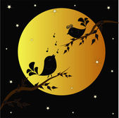 Singing birdies on branches under the moon — Stock Vector